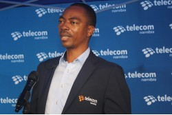 Acting Chief Executive Officer of Telecom Namibia, Calvin Muniswaswa addressing customers and staff during the opening of the iWay store