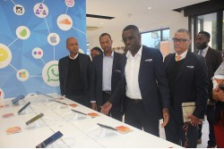 Markus Ipangelwa, Commercial Manager: Windhoek giving guests a tour of the store with Calvin Muniswaswa, Acting Chief Executive Officer, Armando Perny, Chief Mobile Officer, and Ernst Nitschke Acting Chief Commercial Officer looking on